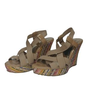 Charles by Charles David Wedge Sandals with Woven Heel 7.5B